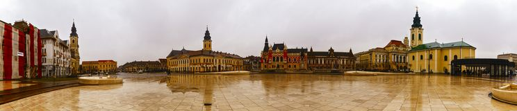 Union square Piata Unirii seen at the rainy day in Oradea, Rom Royalty Free Stock Photos