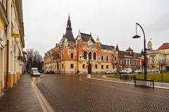 Union square Piata Unirii seen at the rainy day in Oradea, Rom Stock Photos