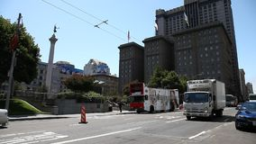 Union Square San Francisco. San Francisco, CA, USA - August 17, 2016: daily street traffic in front of Union Square center of San Francisco, Market Street, known stock video