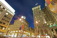 Union Square San Francisco at night. City-Nightlife and Traffic at Union Square in downtown San Francisco. Sunset in the city royalty free stock photo