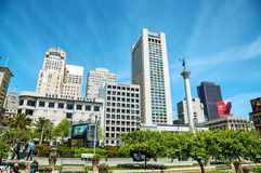 Union Square in San Francisco on a sunny day Royalty Free Stock Photos