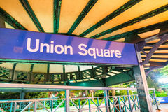 Union Square subway sign at night in New York CIty.  Royalty Free Stock Photography