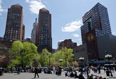 Union Square Sunny Day. New York City Union Square blossoming at spring royalty free stock photography