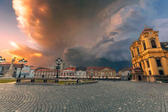 Union Square in Timisoara prepares for storm Royalty Free Stock Image