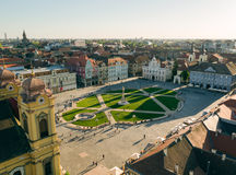 Union Square, Timisoara, Romania. Aerial view taken with a drone at sunset in Union Square, Timisoara, Romania Royalty Free Stock Image
