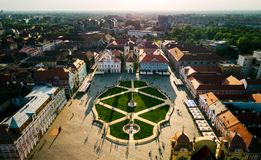 Union Square Timisoara at sunset. With beautiful light and shadows - aerial view taken by a professional drone Royalty Free Stock Image