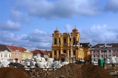 Union square (Unirii Square) in Timisoara, Romania. (during renovation Stock Photo