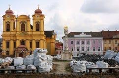 Union square (Unirii Square) in Timisoara, Romania. (during renovation Royalty Free Stock Images