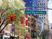 Union Square West signboard manhattan new york city USA America. New York City, USA - April 2018: Union Square West signboard manhattan new york city USA or stock photography