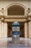 Union Station in Chicago. The main hall of Union Station with a clock and two statues Stock Images