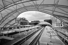 Union Station. Denver Colorado in black and white Royalty Free Stock Image