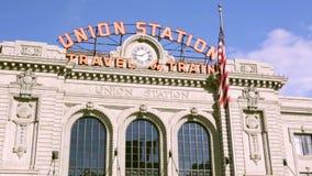 Union Station. Denver, Colorado, USA-September 7, 2015. Renovated Union Station in Downtown Denver, Colorado stock footage