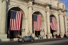 Union Station Exterior. Photo of Union Station in Washington D.C. decked out with american flags in honor of President Bush's inauguration.  Photo may have Stock Images