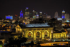Union station,Kansas city,buildings,night. Panorama of the Union station and downtown highrise buildings of Kansas city Missouri at night Royalty Free Stock Photo