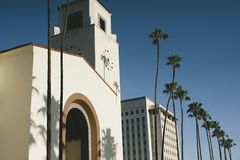 Los Angeles Union Station with Palm Trees stock photo