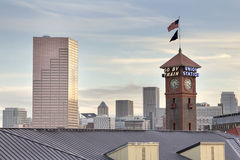 Union Station Portland Oregon Skyline Stock Photo