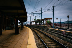 Union Station and railroad tracks in New London, Connecticut. Stock Images