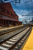 Union Station and railroad tracks in New London, Connecticut. Royalty Free Stock Photos