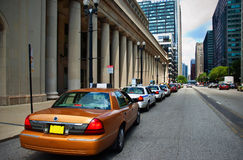 Union Station taxicab rank. Taxicabs parked outside Union Station, Chicago, Illinois, U.S.A Royalty Free Stock Image