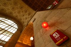 Union Station. TORONTO, April 14: Union Station, iconic historic building in Beaux-Art style, has been the biggest and busiest railway terminal in Canada since Stock Photo