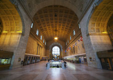 Union Station Toronto. Toronto, Canada - November 6, 2012: wide angle inside view of Toronto's Union Station, one of the finest examples of Beaux Arts railway Stock Photography