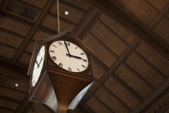 Union Station Travel Clock. Travel clock at busy train station stock images