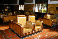 Union Station Traveler Seating. The sun cascades through windows onto empty seats at Union Station in downtown Los Angeles. Union Station was built in 1939 and Royalty Free Stock Images