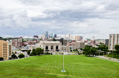 Union Station and view of downtown Kansas City. Royalty Free Stock Photography
