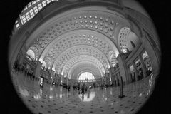 Union Station Washington DC in Fisheye. The main train station in Washington DC Stock Image