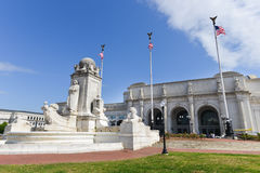 Union Station in Washington DC United States. Statue of Columbus in front of Union Station - Washington DC United States stock photos