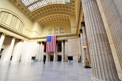 Union station in wide angle, Chicago. Union station interior, Chicago city, Illinois Stock Image