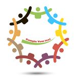 Union symbol. People of different Nations joined hands royalty free illustration