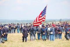 Union tjäna som soldat reenactment Royaltyfria Bilder