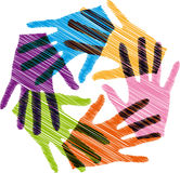 Union touch. Ilustration of colorful hands, made in adobe illustrator Stock Photos