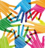 Union touch. Ilustration of colorful hands, made in adobe illustrator Stock Photography