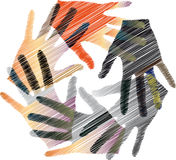 Union touch. Ilustration of colorful hands, made in adobe illustrator Stock Images