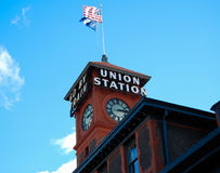 Union Train Station Seattle. Clock tower outside the Union Train Station in Seattle, Washington Royalty Free Stock Photo