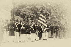 Union troops marching in column formation, Royalty Free Stock Photo