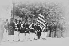 Union troops marching in column formation, Stock Images