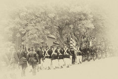 Union troops marching in column formation, Royalty Free Stock Image
