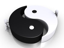 Union of two different sides. Two 3d people are pushing the two parts of a yin and yang symbol Royalty Free Stock Photo