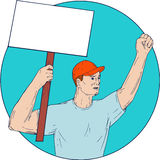 Union Worker Activist Placard Protesting Fist Up Circle Drawing Royalty Free Stock Photo