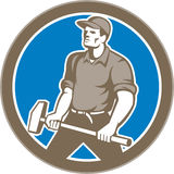 Union Worker With Sledgehammer Circle Retro Royalty Free Stock Image