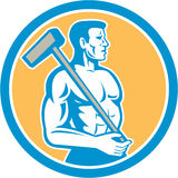 Union Worker With Sledgehammer Circle Retro Stock Photo