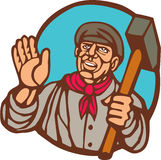 Union Worker With Sledgehammer Linocut Royalty Free Stock Image