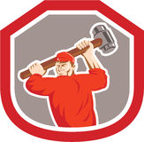 Union Worker Striking Smashhammer Shield Retro Royalty Free Stock Photos