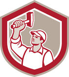 Union Worker Wielding Hammer Shield Retro Royalty Free Stock Photos