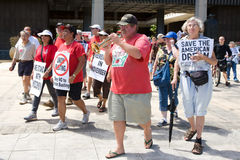 Union Workesr's Rights Supporters March w/Trumpet Royalty Free Stock Images