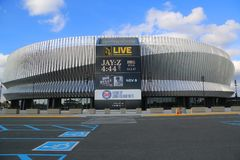 The newly renovated Nassau Veterans Memorial Coliseum in Uniondale, NY. UNIONDALE, NEW YORK - NOVEMBER 9, 2017: The newly renovated Nassau Veterans Memorial stock photo
