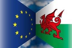 Unione Europea contro le bandiere del Galles Immagine Stock